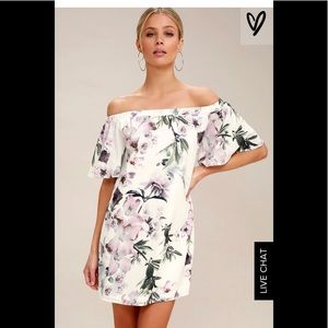 Ivory Floral Print Off-the-Shoulder Shift Dress